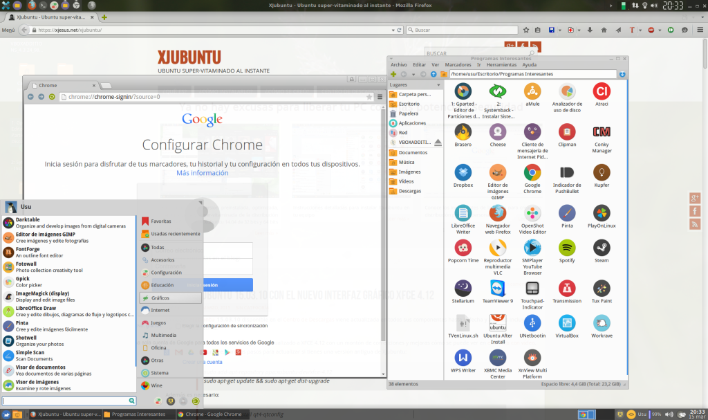 Captura XJubuntu32-15.15 Firefox Chrome y Whisker Menu